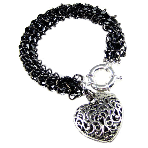 #105b Black/Silver Chain Mail Rope Bracelet With Filigree Heart