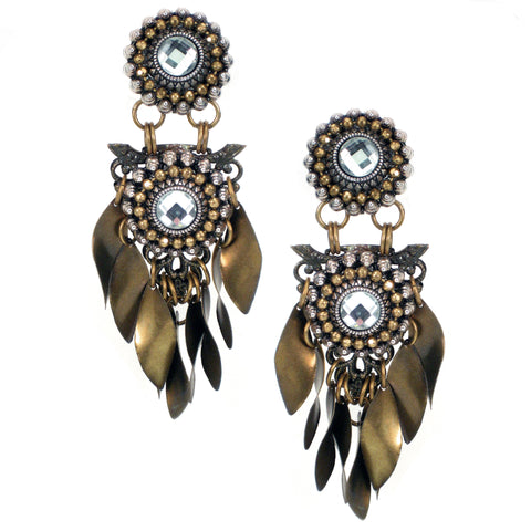 #1060e Old Gold Filigree & Silver Tone Drop Earrings With Crystal Cabochon & Fringe
