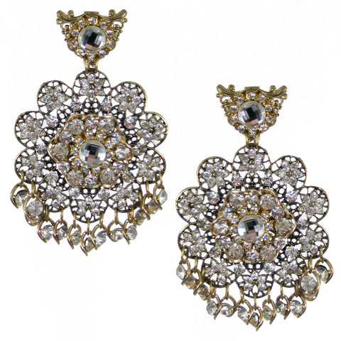 #1061e Gold Tone Filigree & Rhinestone Floral Drop Earring