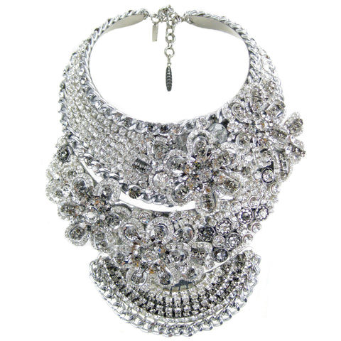 #1061n Rhinestone Encrusted Statement Collar/Bib Necklace