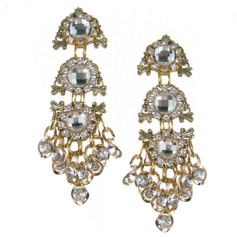 #1062e Gold Tone Filigree & Crystal Drop Earrings
