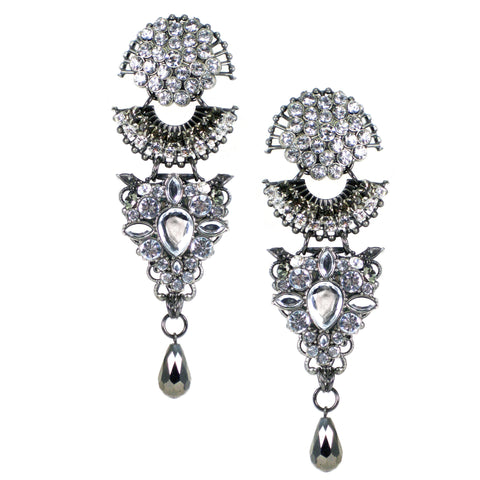 #1064e Rhinestone & Gunmetal Filigree Statement Drop Earrings