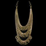 #1064n Gold Tone 3 Strand Chain Necklace With Ring Fringe