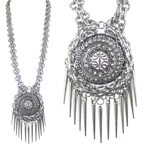 #1065n Long Silver Tone Chain & Filigree Pendant Necklace With Spike Fringe