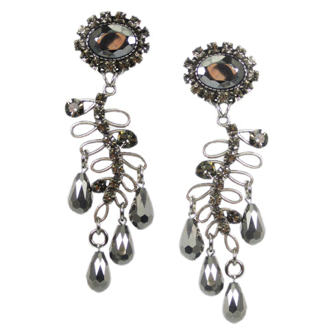 #1066e Silver & Hematite Tone Rhinestone & Drop Bead Long Earrings