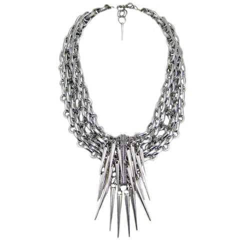 #1066n Silver Tone Chain Collar Necklace With Spikes