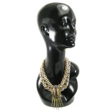 #1066ng Gold & Silver Tone Chain Collar Necklace With Spikes