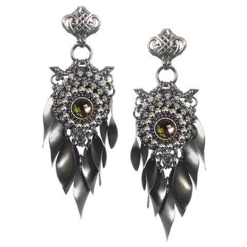 #1067e Gunmetal Tone Filigree & Leaf Fringed Earrings With Amber Rhinestone