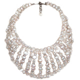 #1068n Fresh Water Pearl & Rhinestone Oversized Collar Necklace