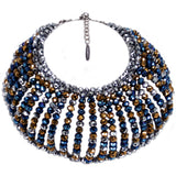 #1070n Hematite, Blue & Bronze Glass Bead Oversized Collar Necklace