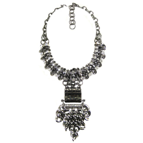#1074n Gunmetal Tone Chain & Rhinestone Collar Necklace With Pendant