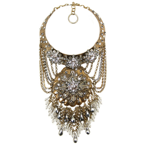 "#1075n Gold Tone Choker/Bib ""Statement"" Necklace With Crystal & Rhinestone Detail"