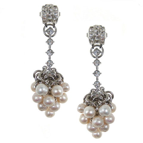 #1080e Silver Tone & Rhinestone Drop Earrings With Pearl Cluster