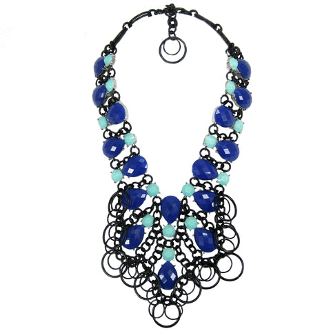 #1080n Cobalt Blue, Aqua & Black Bib Necklace