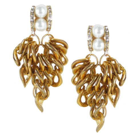 #1083e Gold Tone Chain, Rhinestone & Pearl Drop Earrings