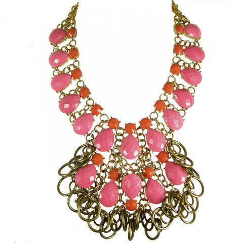 #1083n Pink, Orange & Gold Tone Bib Necklace