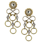 #1084e Gold Tone Rings & Crystal Drop Earrings