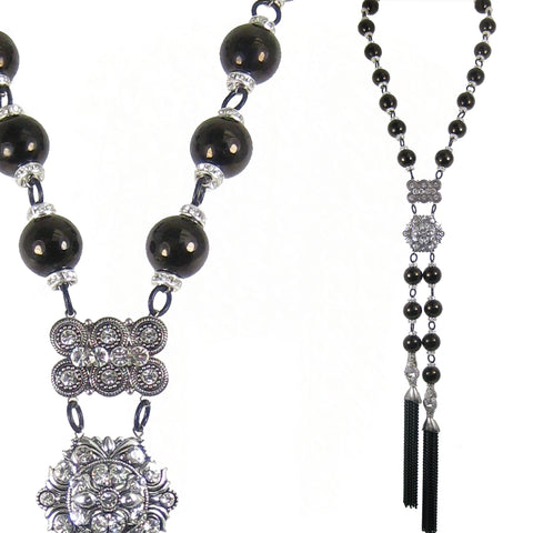 #1084n Jet Stone Bead & Rhinestone Lariat Necklace With Silver Tone & Black Chain Tassels