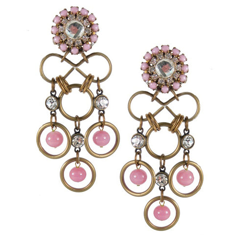 #1085e Gold Tone, Pink & Crystal Rhinestone Drop Earrings
