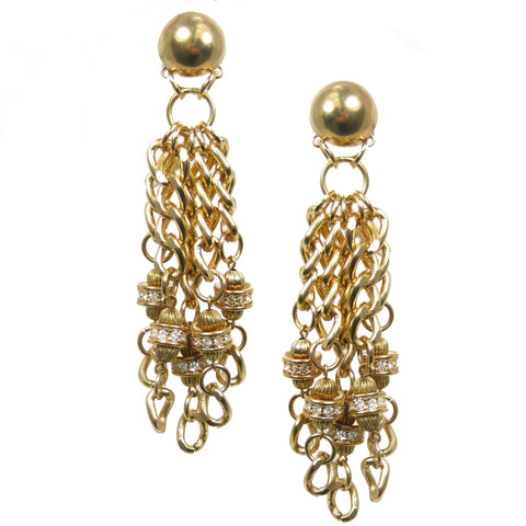 #1086e Gold Tone Chain & Rhinestone Cascade Earrings