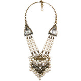 #1086n Old Brass, Crystal & Fresh Water Pearl Pendant Necklace