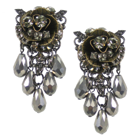 #1088e Gunmetal & Old Gold Tone, Hematite Bead & Rhinestone Embellished Floral Earrings