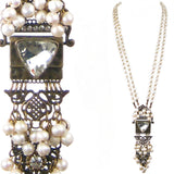 #1088n Old Brass, Crystal & Fresh Water Pearl Long Pendant Necklace