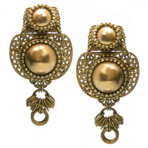 #1089e Gold Tone Filigree & Brass Button Earrings With Brass Ring Drop