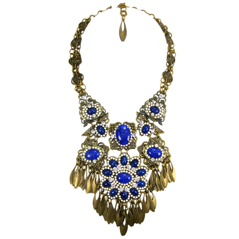 #1089n Old Gold Filigree & Fringe Bib Necklace With Lapis Blue & White Stone Detail