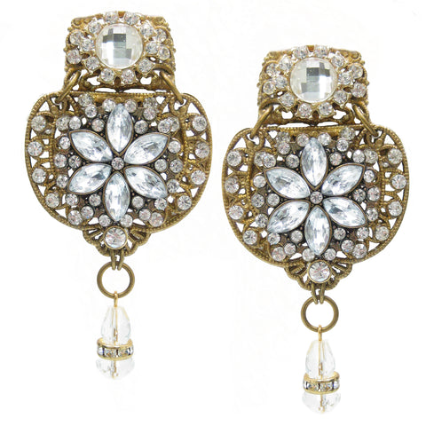 #1090e Gold Tone Filigree & Rhinestone Earrings With Crystal Drop