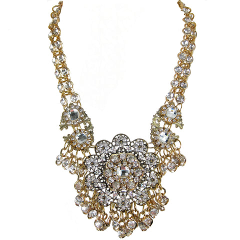 #1092n Gold Tone Filigree & Crystal Rhinestone Necklace with Floral Medallion