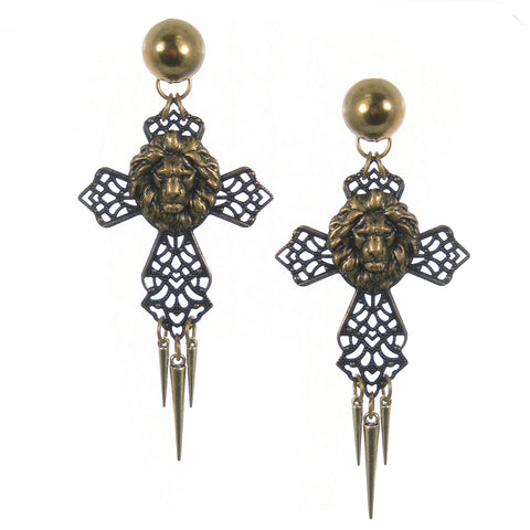 #1094e Old Gold Tone Filigree Cross Drop Earrings With Lion Head & Spikes