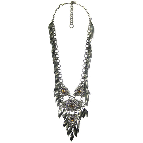 #1094n Gunmetal Filigree, Chain & Fringe Long Pendant Necklace With Amber Rhinestone Detail