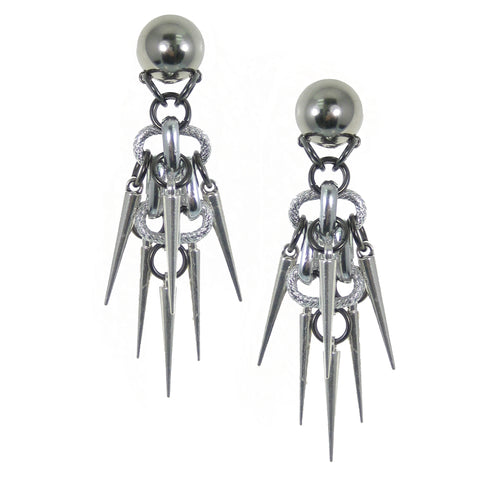 #1095e Silver Tone Earrings With Spikes
