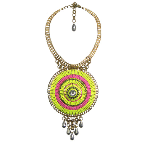 #1098n Gold Tone, Fuchsia & Lime Oversized Pendant Necklace with Gunmetal Bead Detail