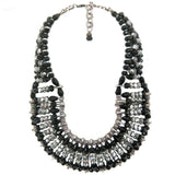 #1099n Black, Hematite & Silver Tone Safety Pin Bib Necklace