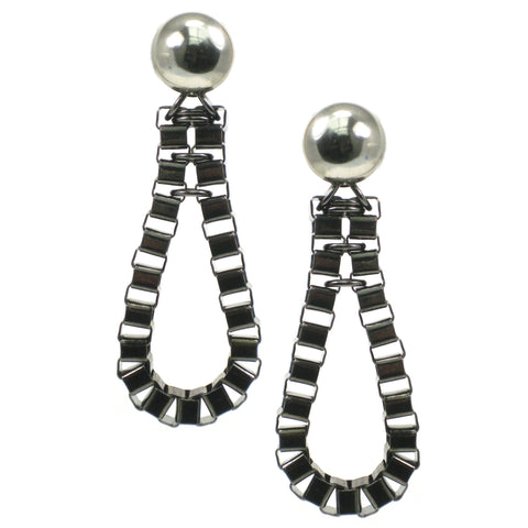 #1005e Gunmetal Box Chain Elongated Hoop Earrings