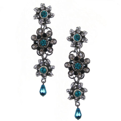 #1100e Silver Tone, Jet, Crystal & Aqua Floral Drop Earrings