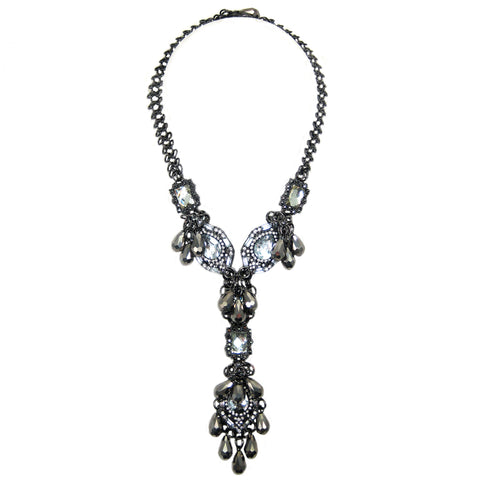 #1100n Gunmetal Tone Chain, Crystal Rhinestone & Hematite Glass Bead Pendant Necklace With Pendant