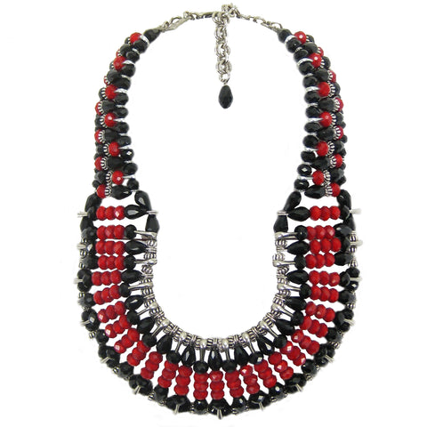 #1102n Red, Black, Silver Tone Safety Pin Bib Necklace