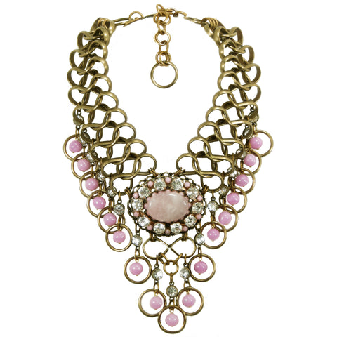 #1111n Gold Tone, Rose Quartz Cabochon, Pink & Rhinestone Fringed Bib Necklace