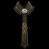 #1113n Gold Tone Chain & Crystal Cabochon Necklace With Long Chain & Ring Fringe