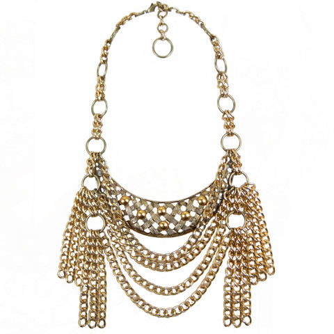 #1116n Gold Tone Bib Necklace With Chain Tassels