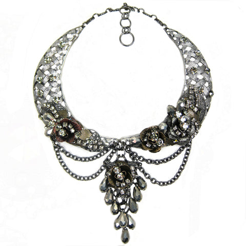 #1117n Gunmetal, Old Gold & Copper Tone Floral Collar Necklace With Hematite Bead & Rhinestone Embellishment