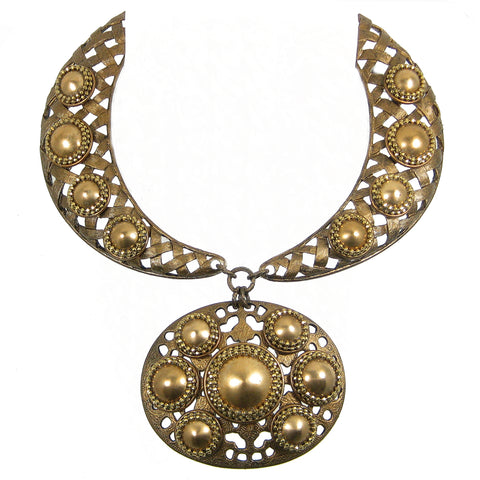 #1118n Old Gold Collar Necklace With Oval Pendant & Brass Button Embellishment