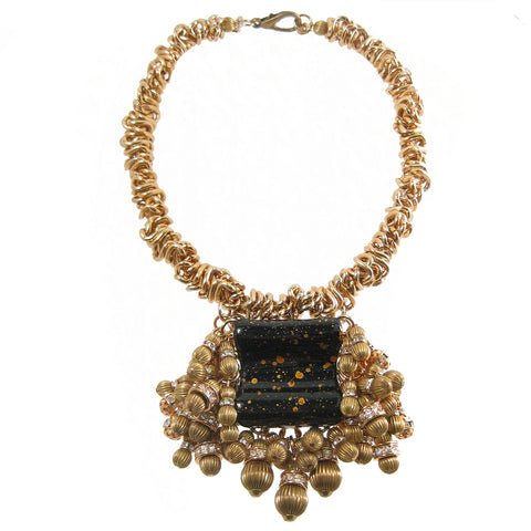 #1119n Gold Tone Choker With Black, Gold & Rhinestone Bead Pendant