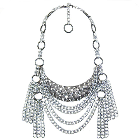 #1120n Silver Tone Bib Necklace With Chain Tassels