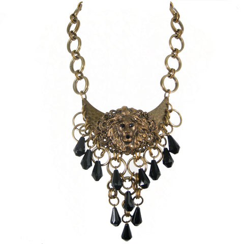 #1122n Old Gold Lion Head With Chain & Jet Drop Bead Fringe Bib Necklace