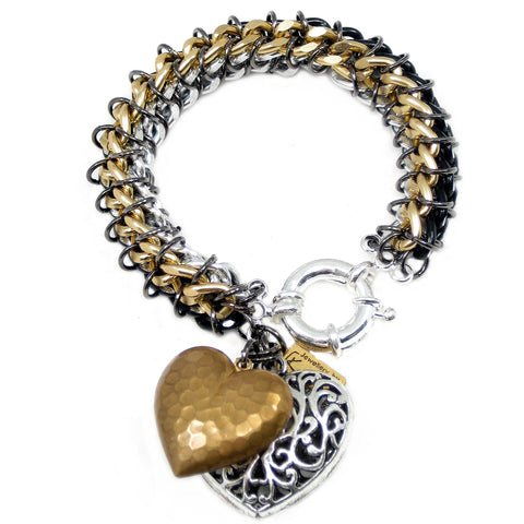 #112b Gold/Silver/Black Chain Mail Rope Bracelet With Hearts