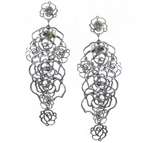#112e Silver Tone & Rhinestone Floral Earrings